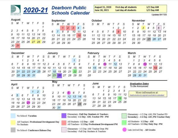 Color coded school calendar