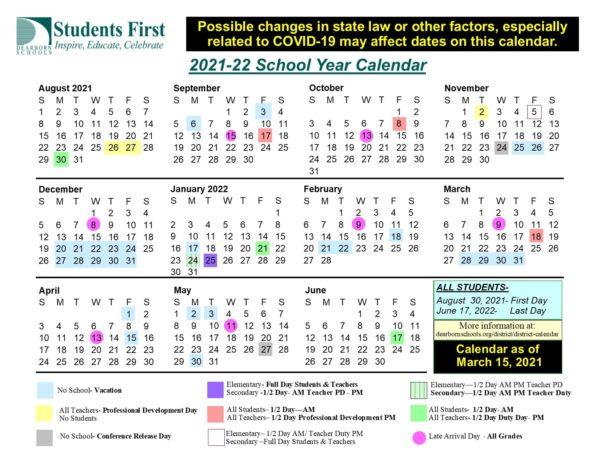 Dearborn Schools 2021-22 calendar graphic v 3-15-21