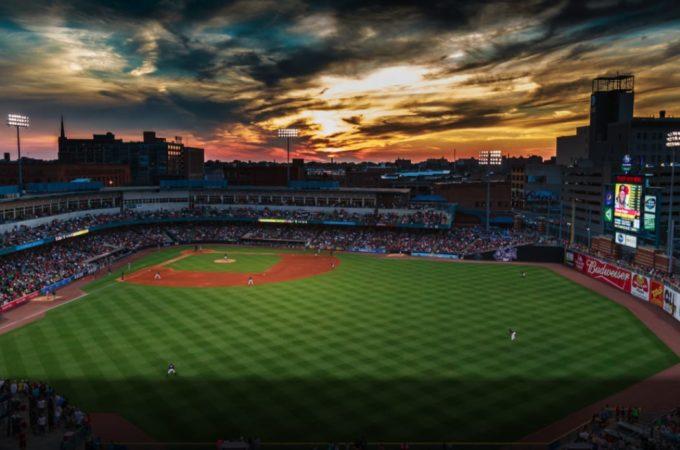 Scenic view of Fifth Third Stadium at sunset
